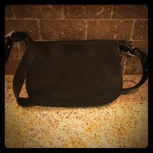 Coach Black Leather Messenger Style Bag